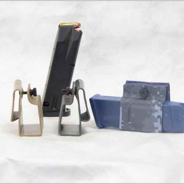 Inline Horizontal mag carrier shown in three colors with pistol magazine.