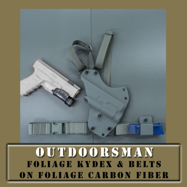 Foliage kydex chest holster with foliage straps. Gun mold with light on side.