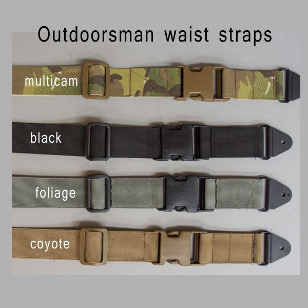 Photo of waist strap for chest holsters shown in multicam, black, foliage and coyote.