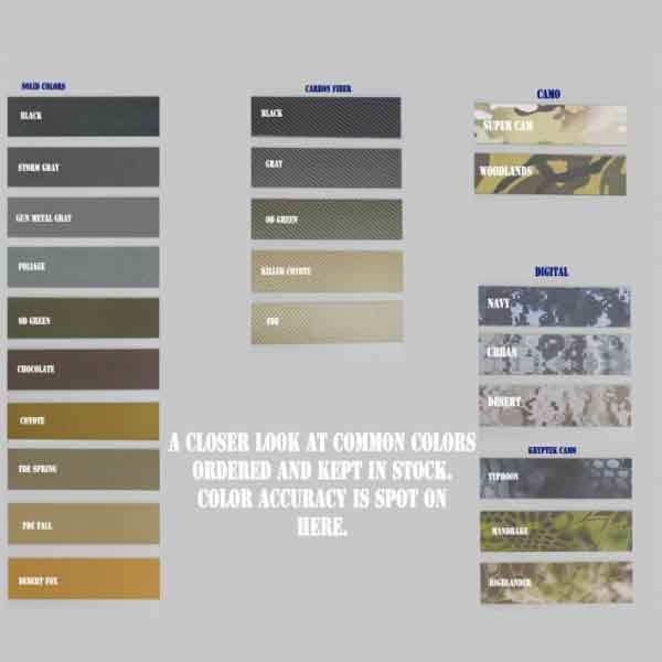 Color chart to show kydex colors for holsters.