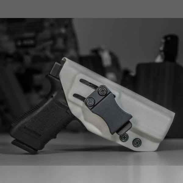 IWB holster shown in white with weapon holstered