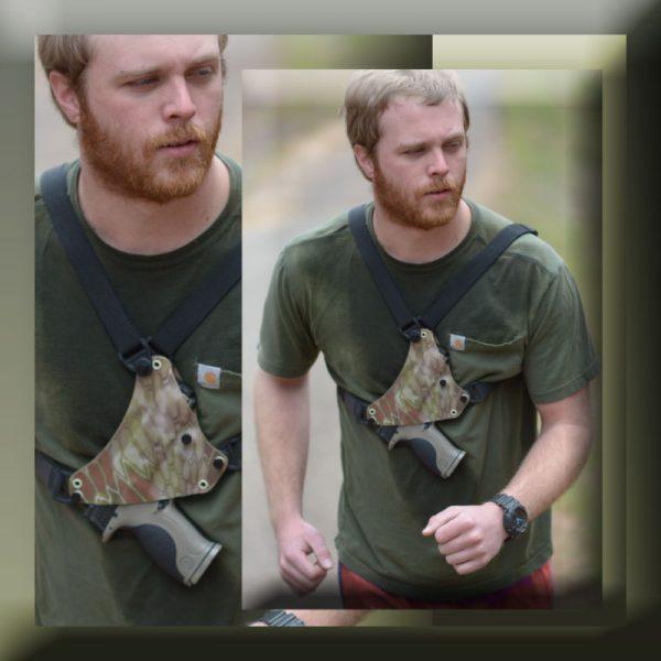 litepath chest holster shown on man running.
