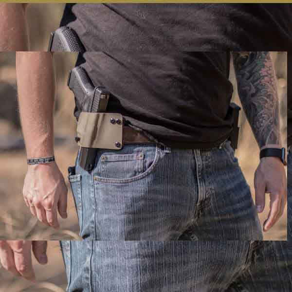 Man shown wearing kydex pancake holster on belt with weapon.