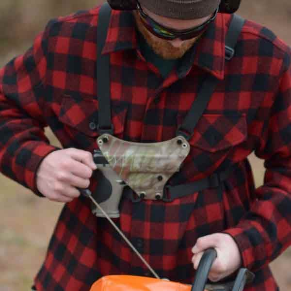 Chest holster, man working