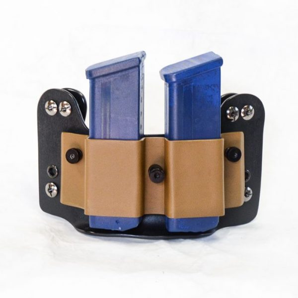 Tactical magazine pouch shown in black and desert fox with G21 mags.