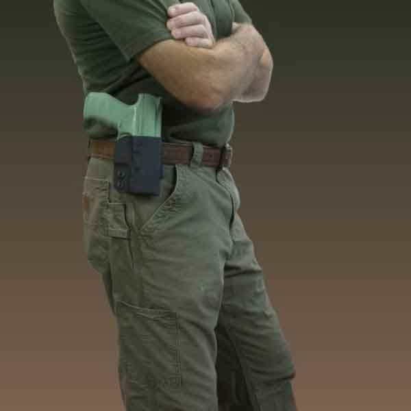 Outside the waistband holster shown open carry with belt attachment.
