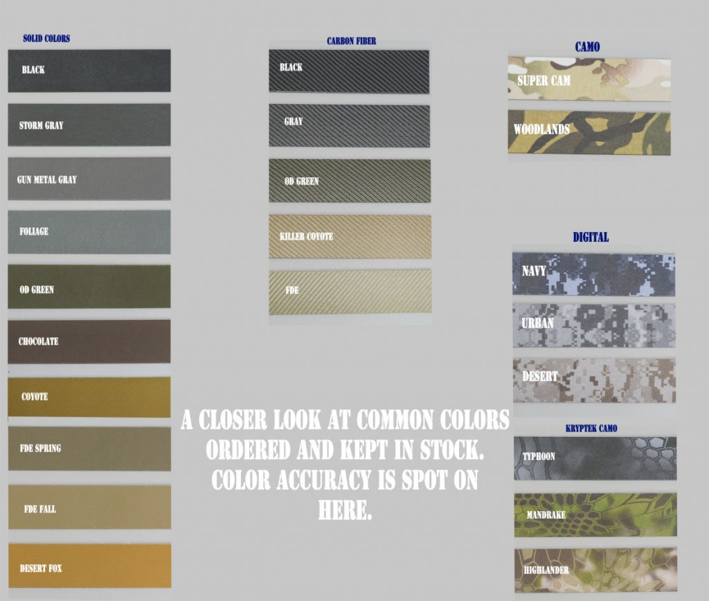 Photo showing Kydex color chart for 2aholster.