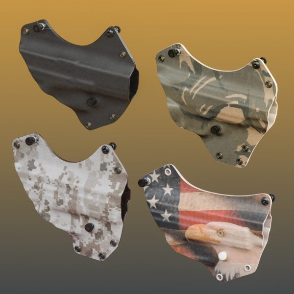 Extra shells for litepath chest holster shown in four different colors.