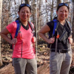 Woman wearing chest holster and backpack hiking.