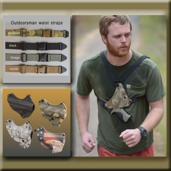 Photo of chest holster options. Strap and kydex color. Man with chest holster running.