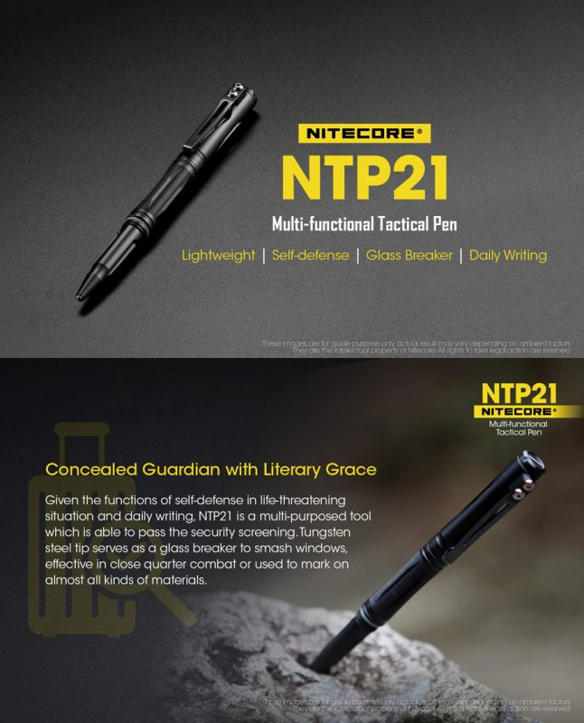 NiteCore NTP21 Tactical Tungsten Steel Tip Glass Breaker German Refill Ball Pen